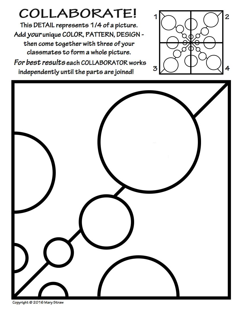 Collaborative Classroom Activities ~ Radial symmetry collaborative activity coloring pages