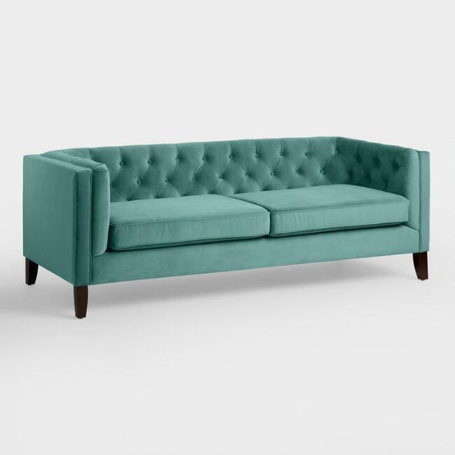 Sleek Sofa In Perky Teal Velvet Kendall