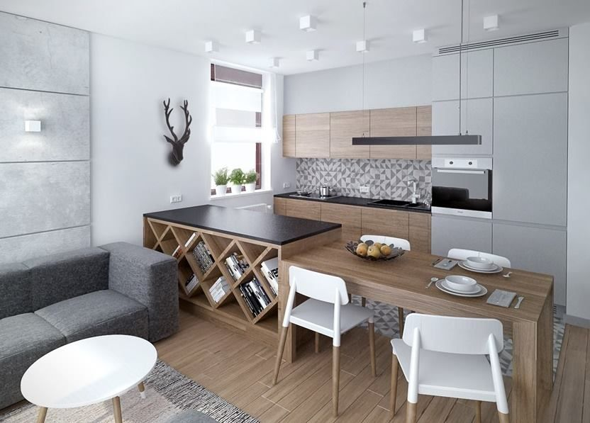 kuchnia stol szara drewno biel kuchnia kitchen pinterest k che offene k che und. Black Bedroom Furniture Sets. Home Design Ideas