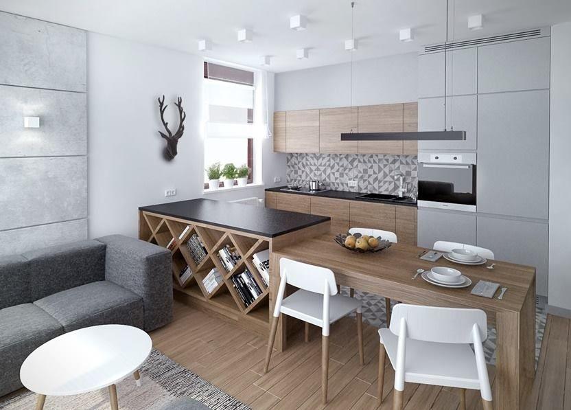Kuchnia, stol, szara, drewno, biel Kuchnia \/ Kitchen Pinterest - kchenfronten modern