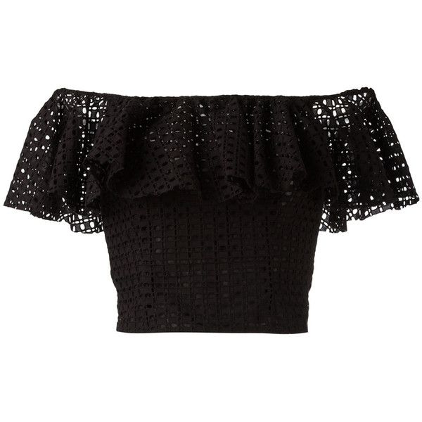 Philosophy Di Lorenzo Serafini ruffle-detailed off-shoulder top (€350) ❤ liked on Polyvore featuring tops, crop top, shirts, blusas, black, cropped tops, flounce crop top, off the shoulder ruffle top, shirt crop top and ruffle top