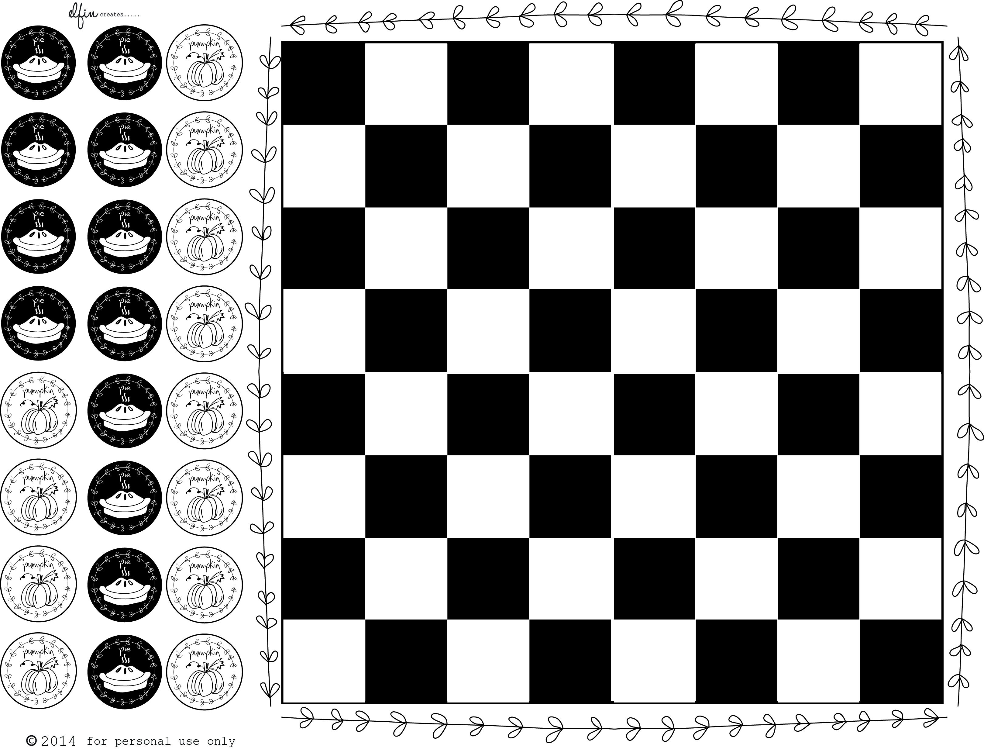 Pumpkin Pie Checkers Free Printable Board Game