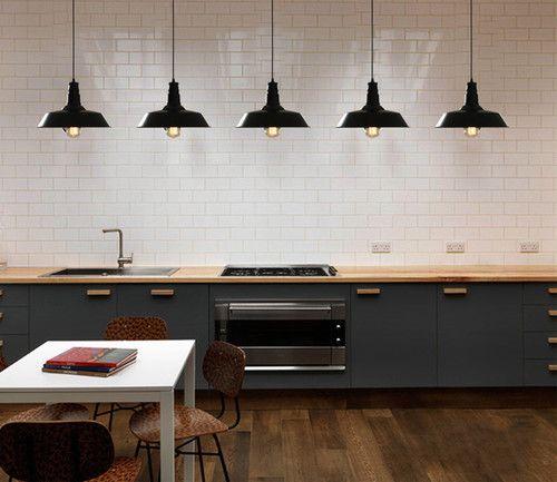 VINTAGE INDUSTRIAL PENDANT LIGHT Dining Kitchen Ceiling EDISON Light BLACK  RETRO