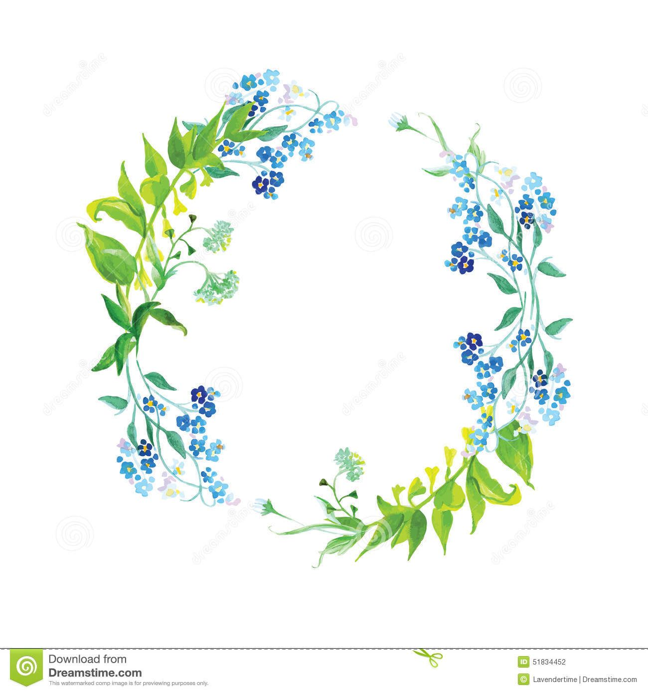 Forget-me-not And Herb Watercolor Round Vector Frame - Download From ...