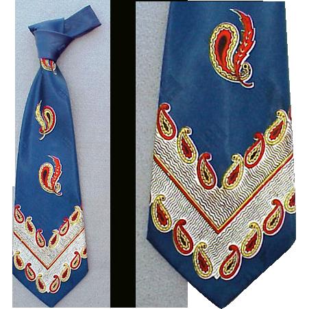 Wide Vintage Wide Necktie 1940s - 1950s Blue Rayon Mid Century Men's Fashion Neck tie
