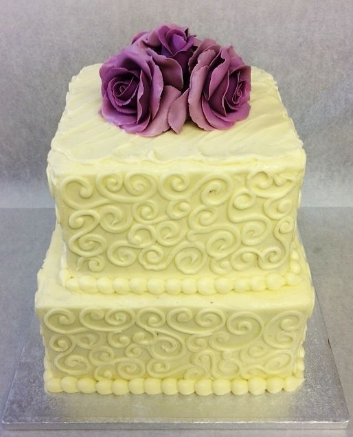 Two Tier Square Purple Roses Wedding Cake | Love it | Pinterest ...