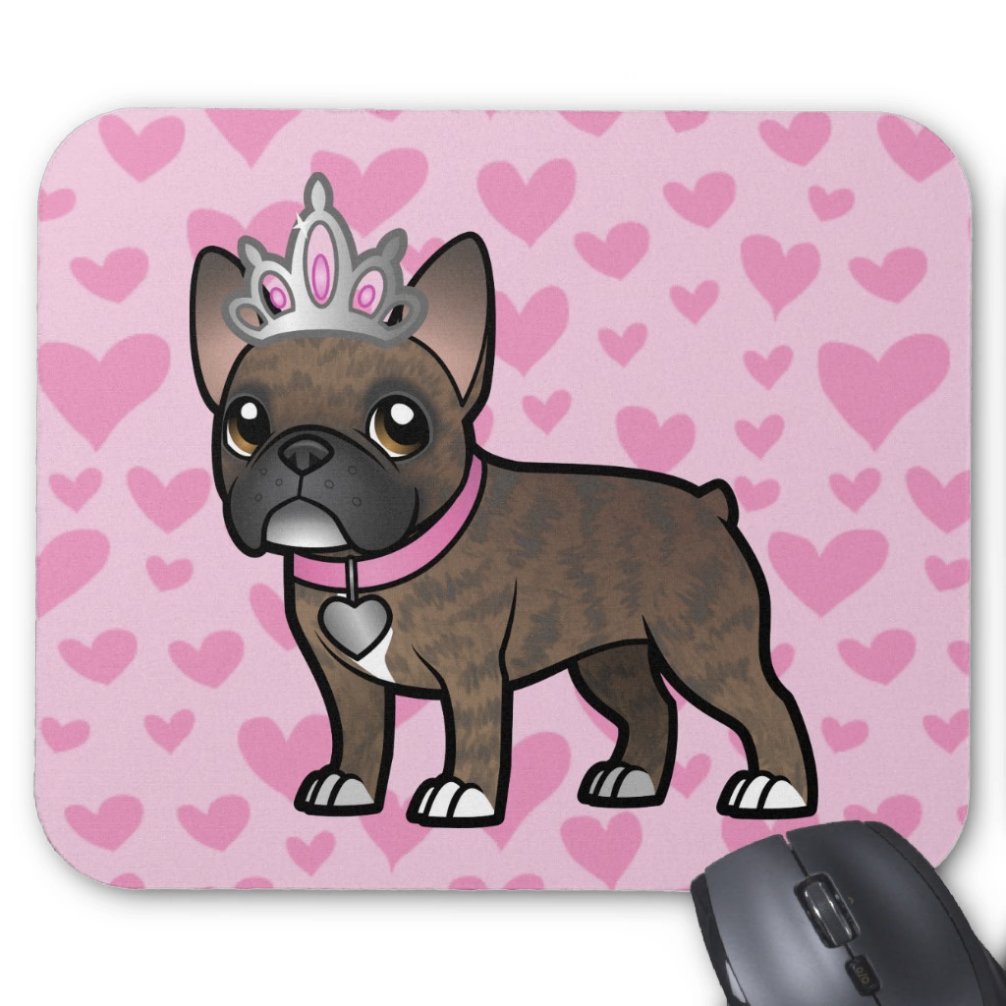 Cute Cartoon Brindle French Bulldog Mousemat Things I Want