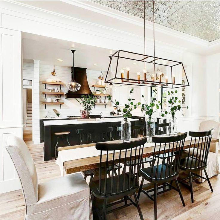Farmhouse Dining Room Lighting: Modern Farmhouse Kitchen