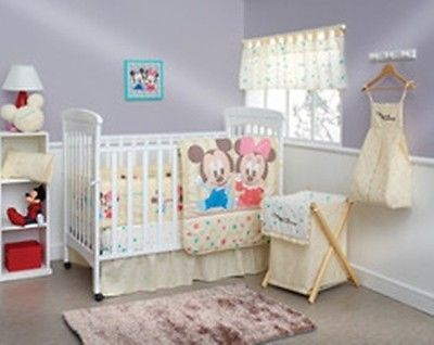 New Baby Friends Minnie And Mickey Crib Bedding Nursery Set 7 Pc
