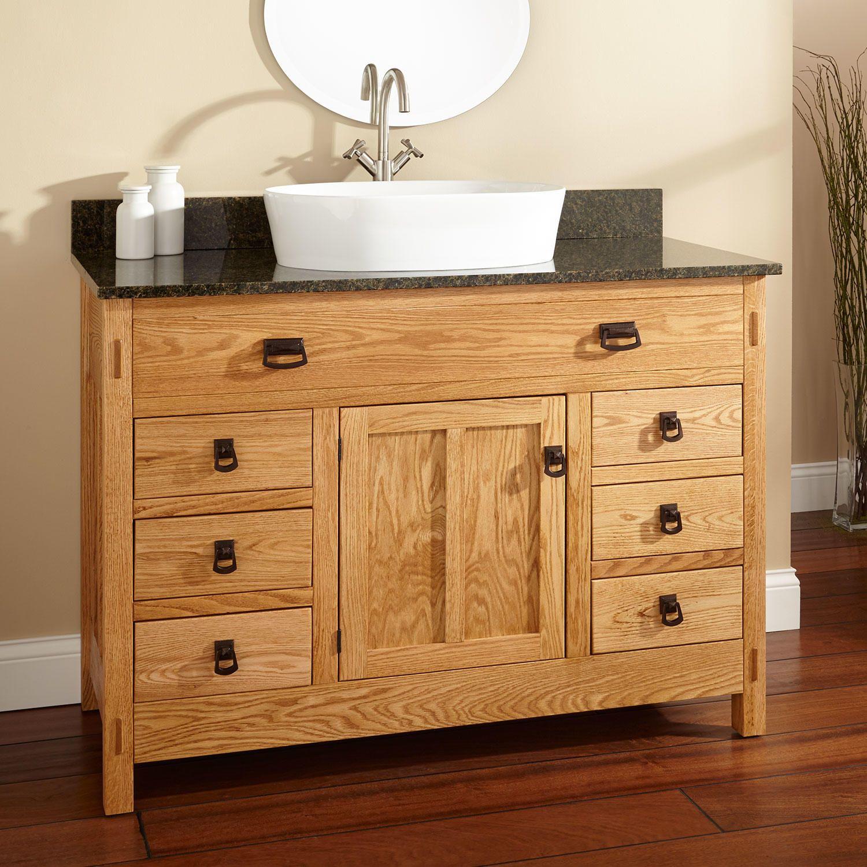 48 Mission Hardwood 6 Drawer Vessel Sink Vanity Single Door