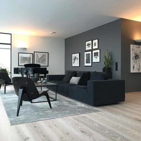 """Photo of Inspirasjon og interiørdesign på Instagram: """"En hammersal stue kjærlig innredet med en klar fargestil ? Kombinasjonen av grå vegg, mørk sofa og den lyse…"""""""