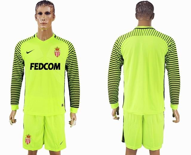 203172069 2017-2018 Monaco Fluorescent green long-sleeved Goalkeeper soccer jersey