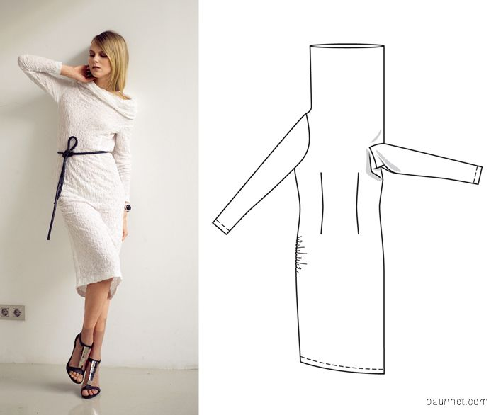 Cowl neck dress pattern (NOT a tutorial) - drape-side armhole is ...