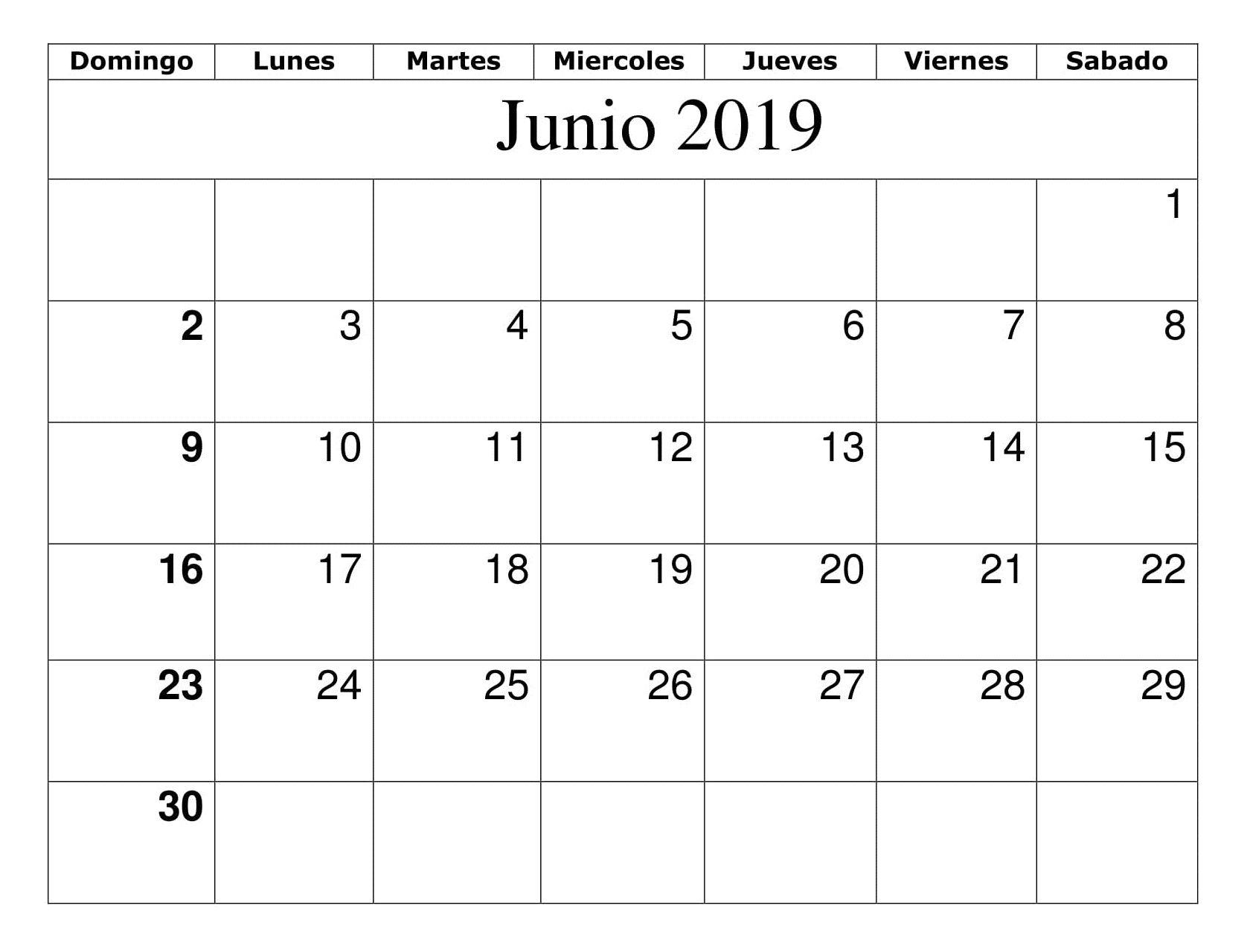 Calendario Junio Lista De Tareas