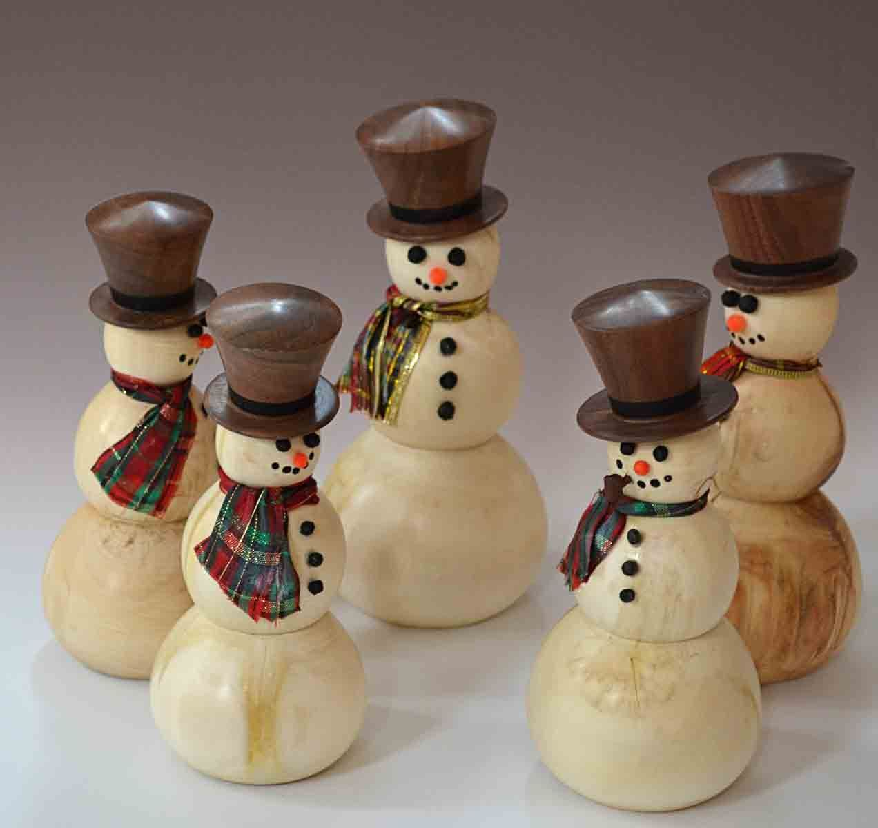Christmas Ornaments Dennis Liggett Woodlathe Wood Christmas Decorations Wood Snowman Wood Turning Projects