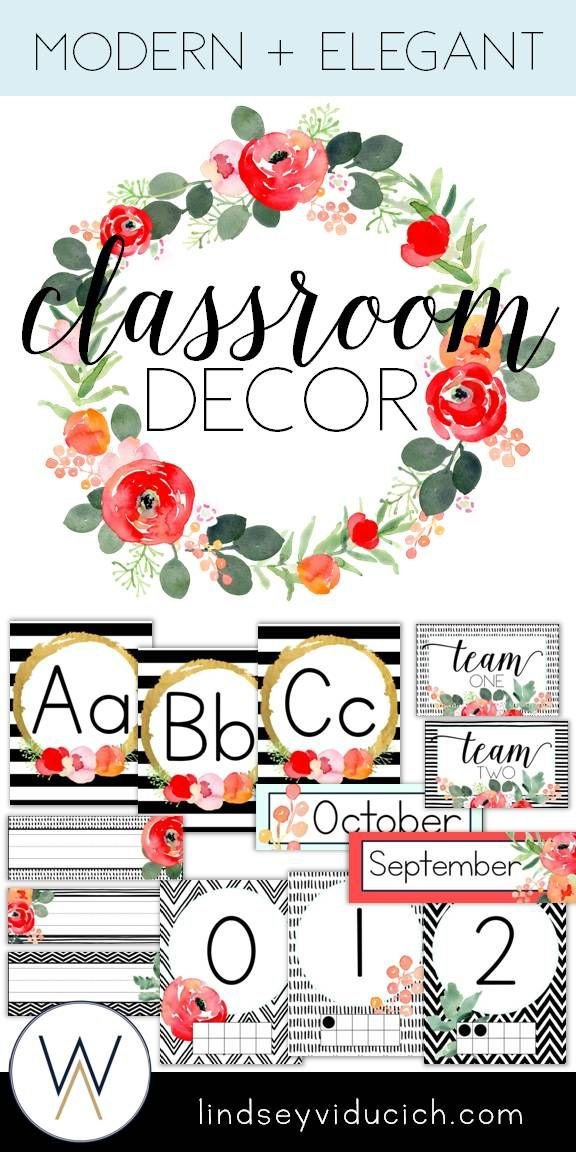 Watercolor Floral Theme Classroom Decor Editable Classroom
