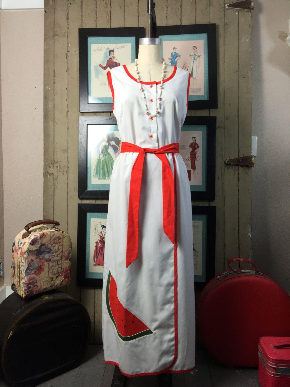 1960s maxi dress novelty print dress watermelon dress size large Vintage dress sleeveless dress cotton dress by melsvanity on Etsy