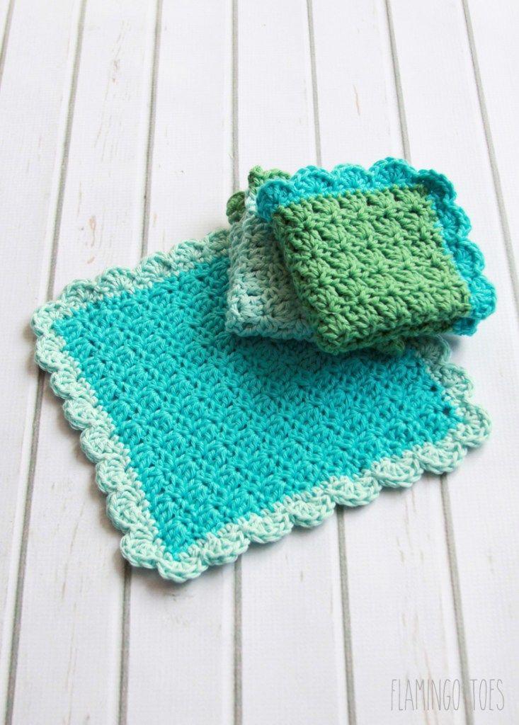 Easy Crochet Dishcloth Pattern | Tutorials | Flamingo Toes – Crochet