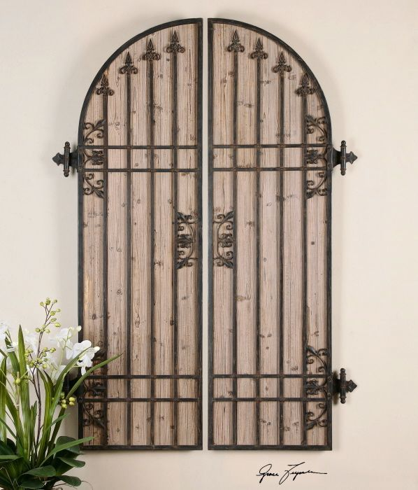 Wood And Iron Wall Decor lombardi arch panels wall decor. arch shaped as a pair of doors
