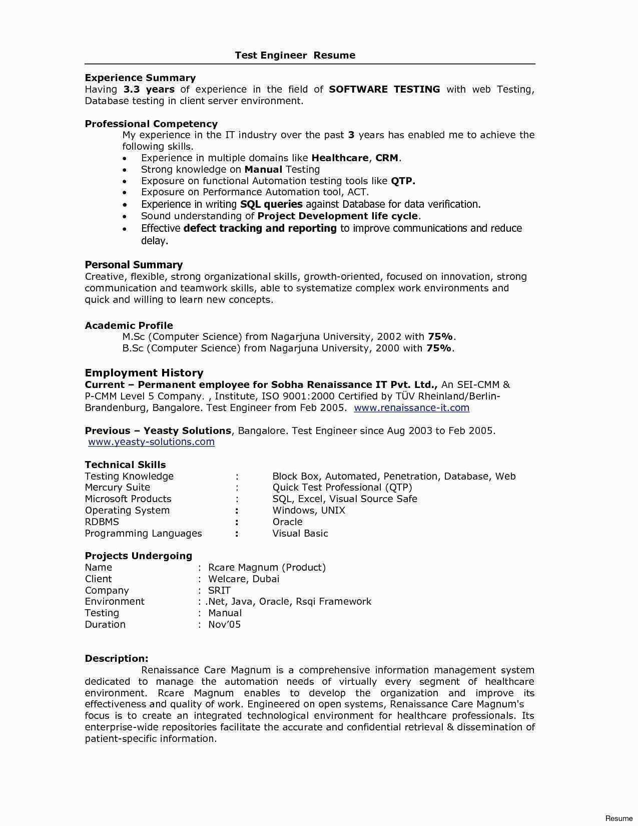 Resume Format 1 Year Experienced Software Engineer Basic Resume Examples Resume Examples Professional Resume Examples