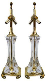 French Blown Glass Lamps, Pair