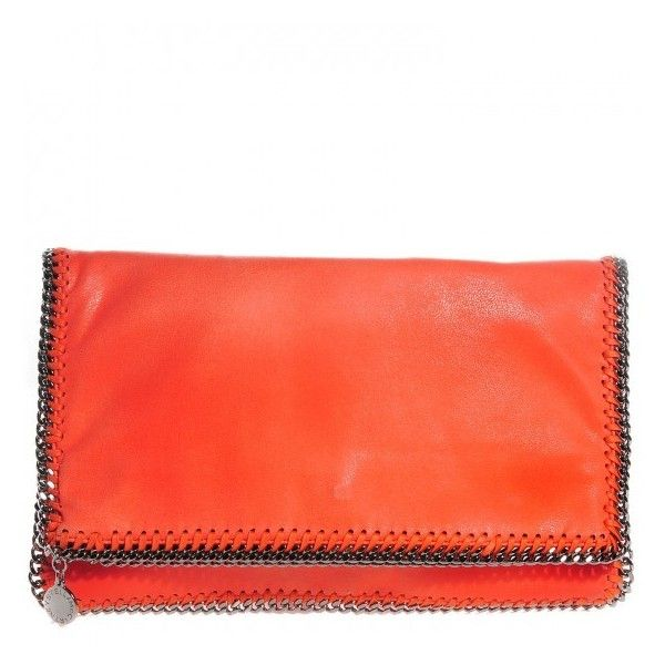 STELLA McCARTNEY Shaggy Deer Falabella Fold Over Clutch Orange ❤ liked on Polyvore featuring bags, handbags, clutches, stella mccartney purses, orange purse, orange clutches, stella mccartney handbags and leather handbags