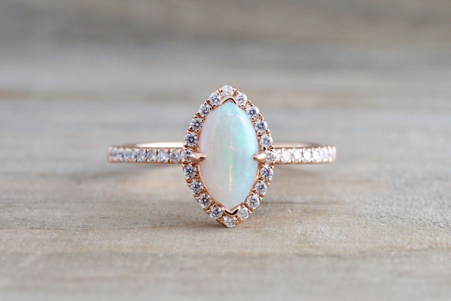 14k Rose Gold Marquise Fire Opal Diamond Halo Engagement Ring