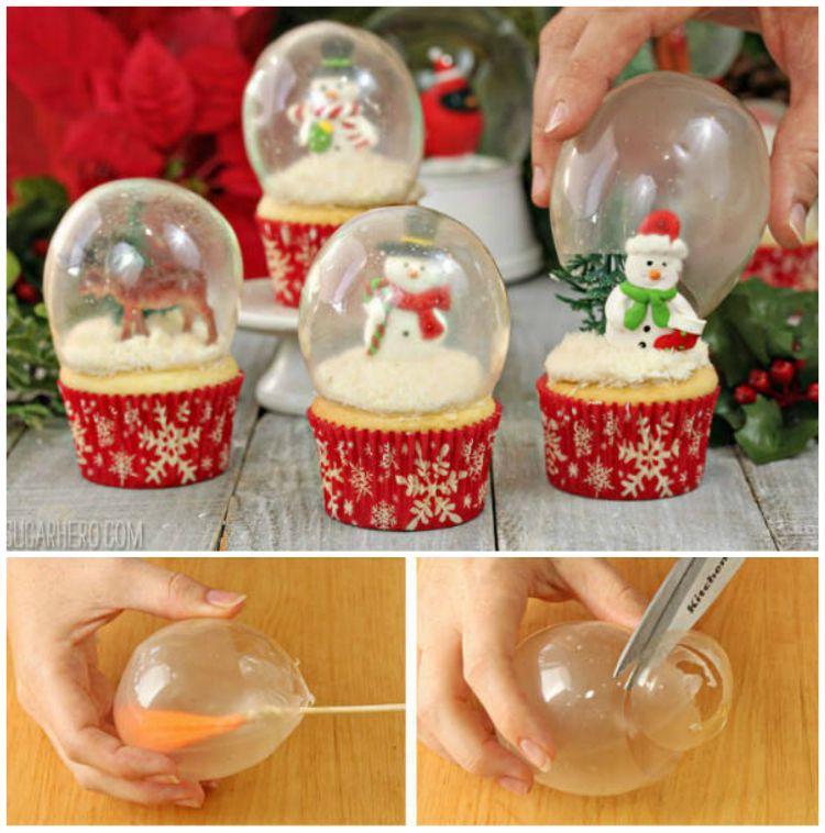 Comment fabriquer des boules à neige avec de la gélatine #cupcakenoel