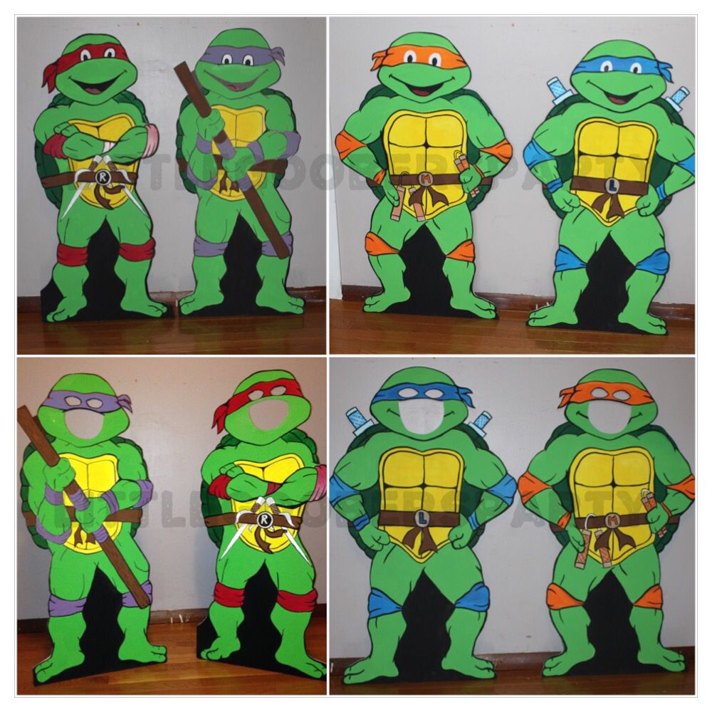 My Teenage Mutant Ninja Turtles Photo Prop Standees They Are Made Out Of Foam Board And Paint Cowabung Hand Painted Decor Custom Cutout Ninja Turtles Photos