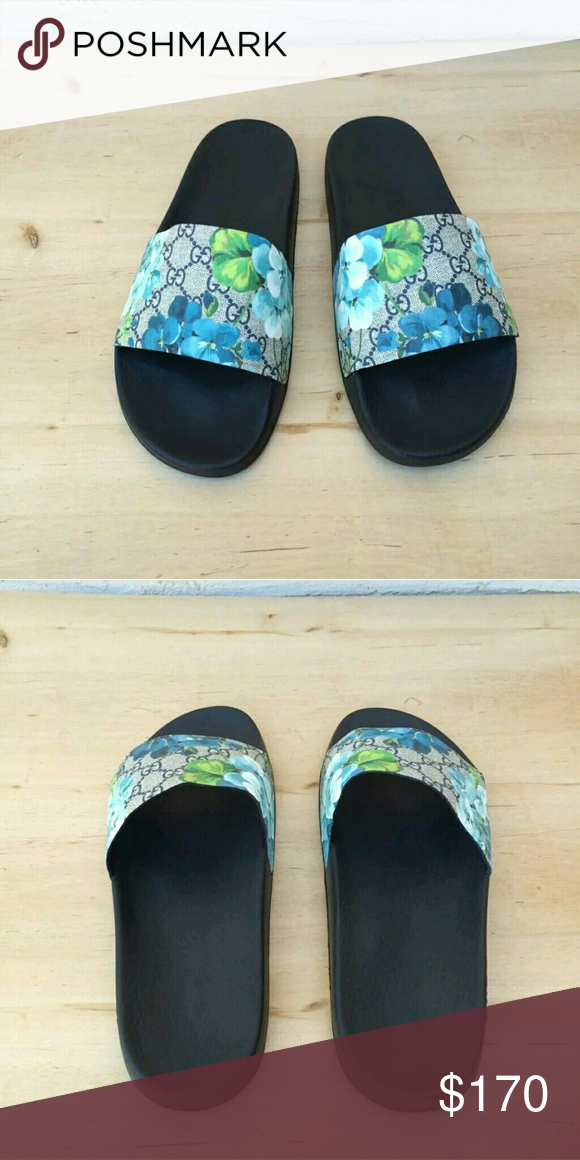 48679e5d017 Gucci Blooms Blue Slides 2017 Men   Women Sizes Brand new Gucci Blue Blooms  On Sale