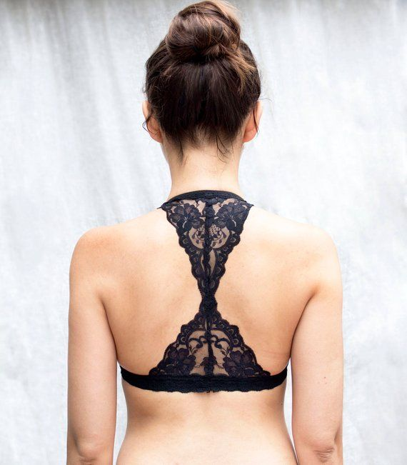47033db11dc Black Lace Bralette. Triangle back. Halter Wireless Bra Top. Unique Lingerie