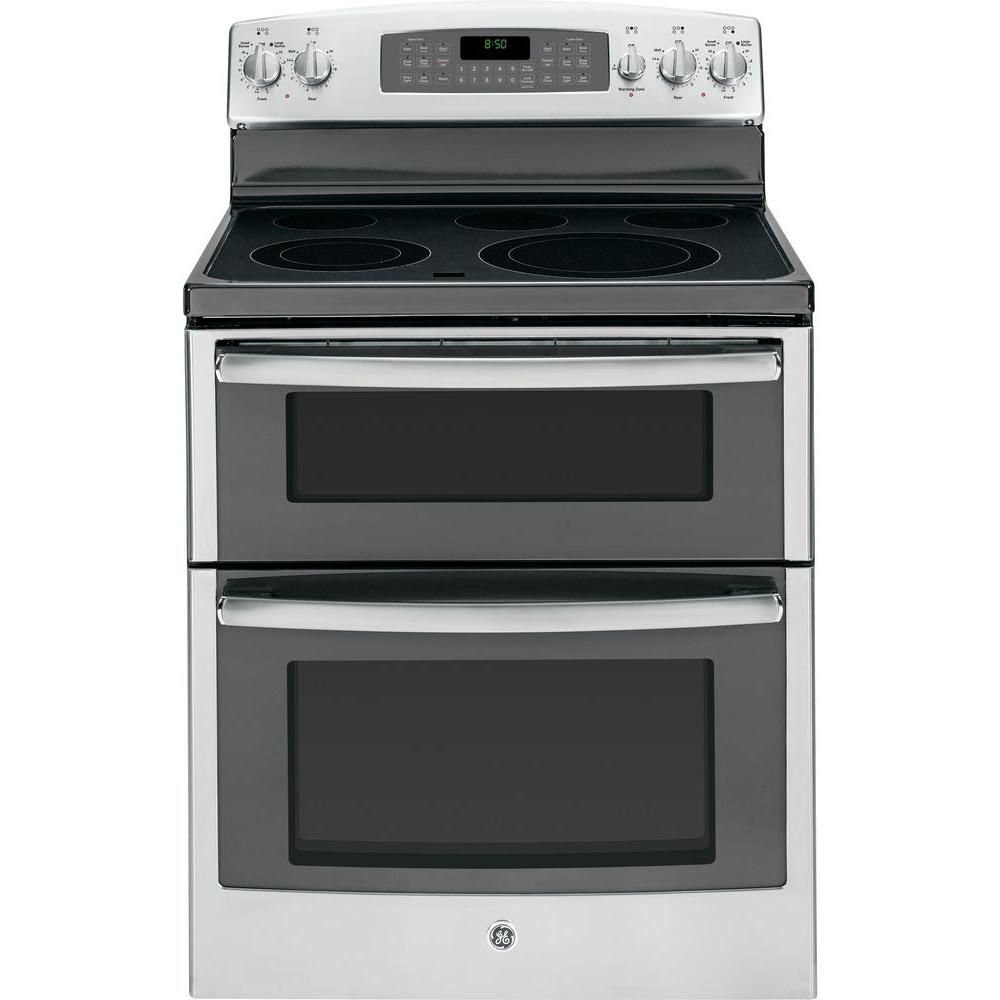 Double Oven Electric Range With Self Cleaning Ovens In Stainless Steel Jb850sfss At The Home Depot