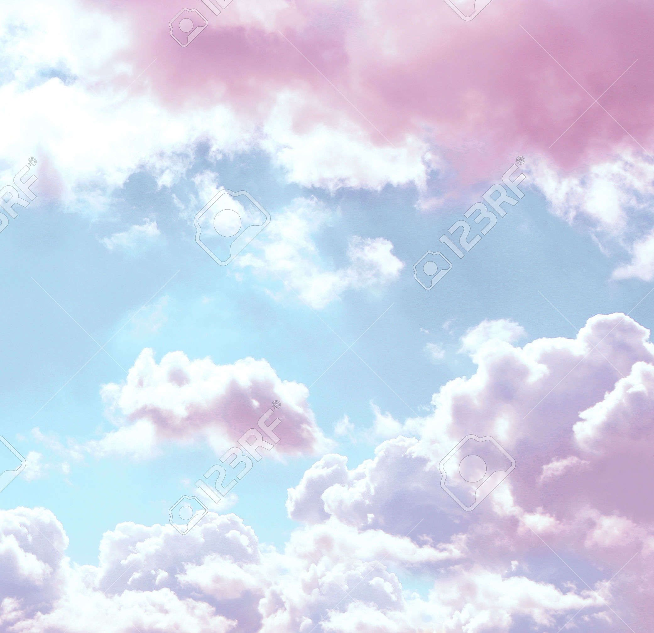 Pink Clouds, Blue Sky Background, Clouds