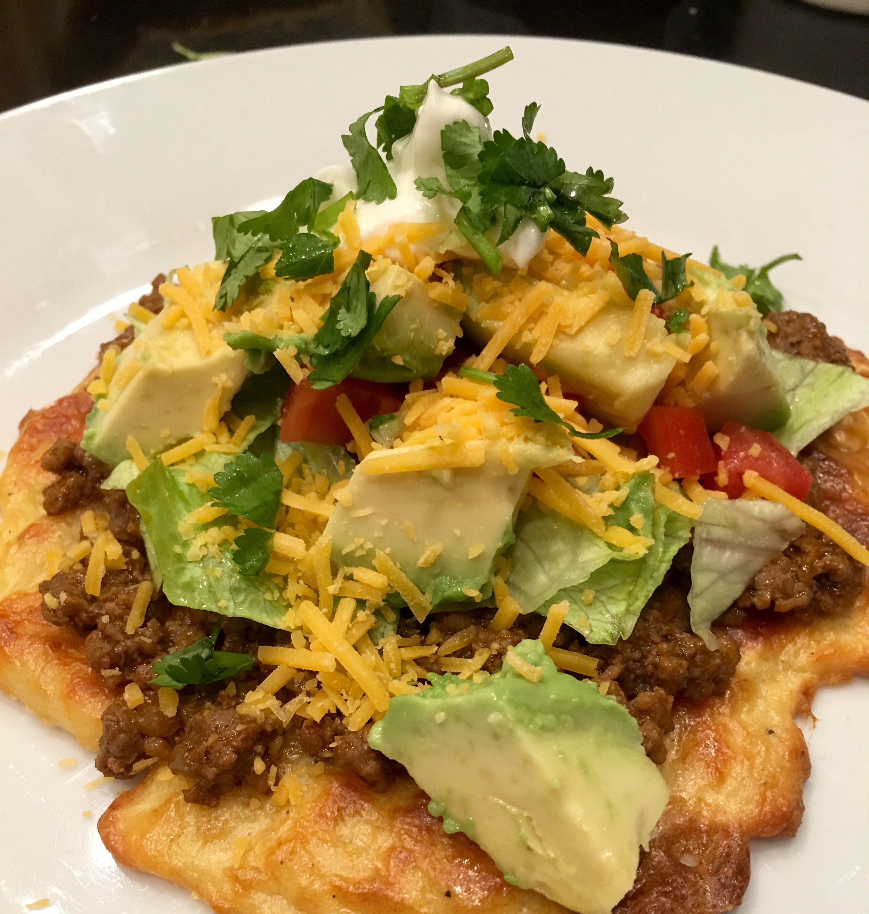 Yes, you can have a low carb tostada! You just make the fathead pizza dough into…Yes, you can have a low carb tostada! You just make the fathead pizza dough into…