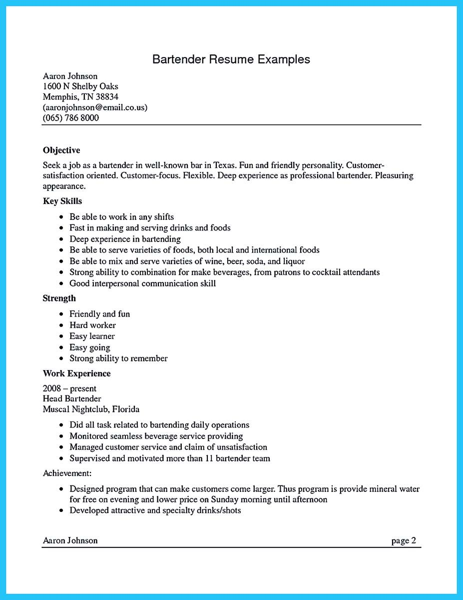 Excellent Ways To Make Great Bartender Resume Template Resume Examples Resume Skills Resume Writing Samples