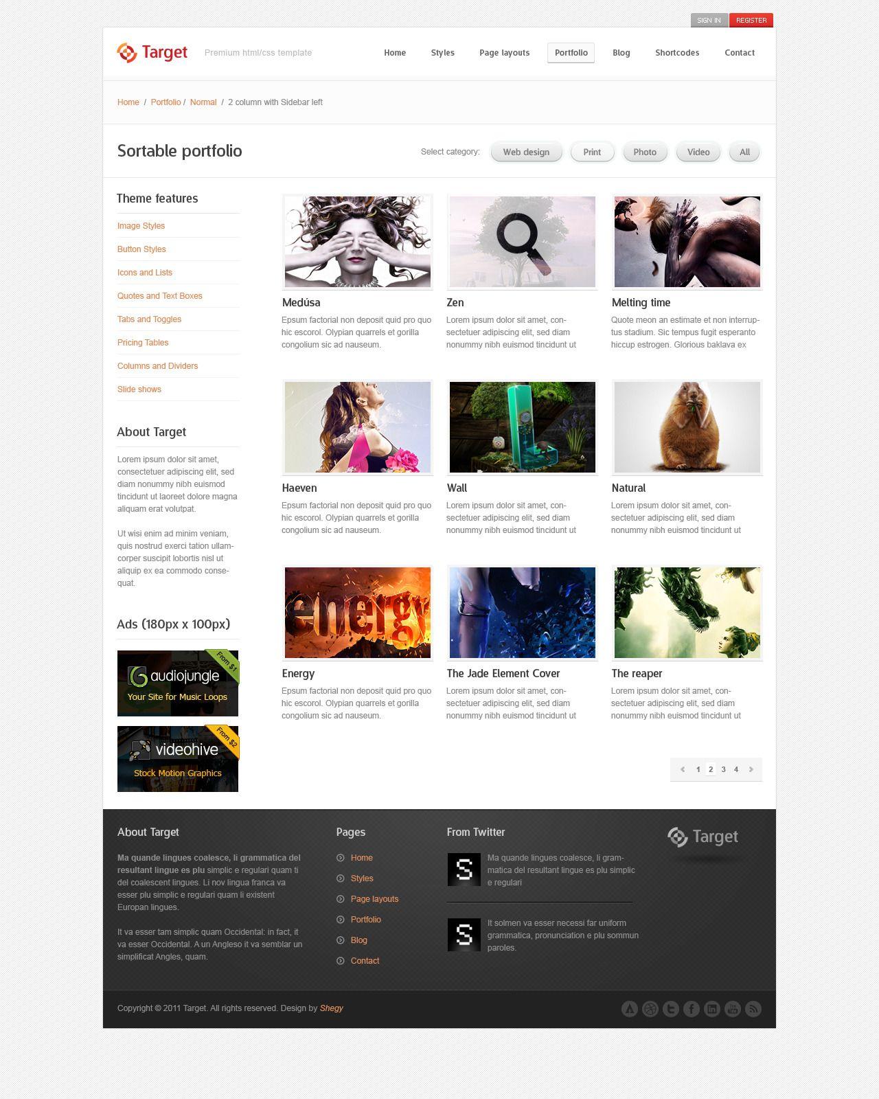 Target Psd Template With Images Psd Templates Psd Templates