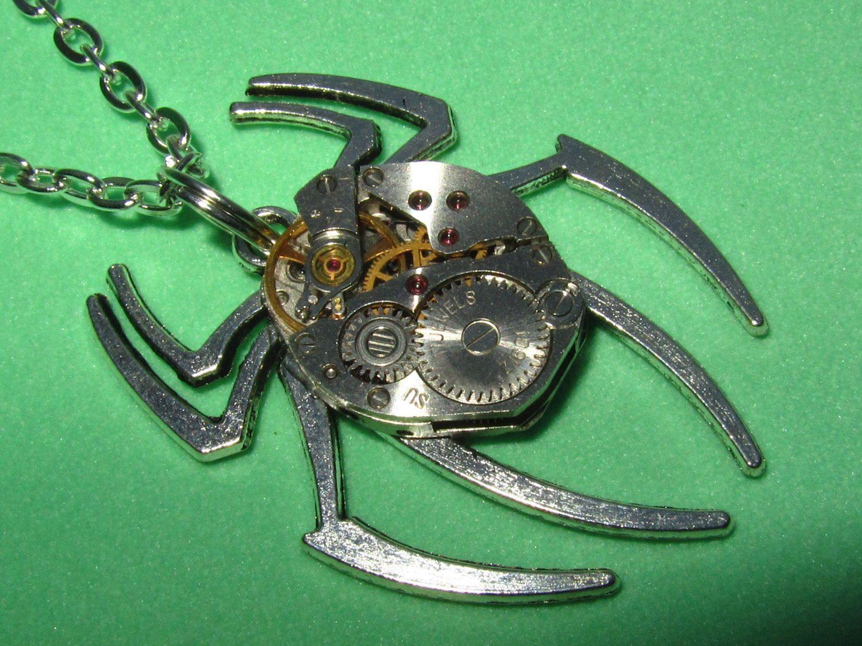 Steampunk Gothic Spider necklace Silver Spider pendant vintage ...