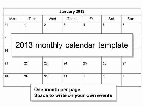 Calendar Template Monthly Calendar Monthly Calendar Template