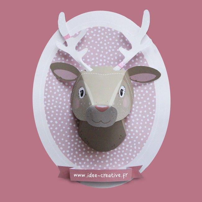 kit imprimer troph e animaux en papier trio renne ours et renard boutique id e cr ative. Black Bedroom Furniture Sets. Home Design Ideas
