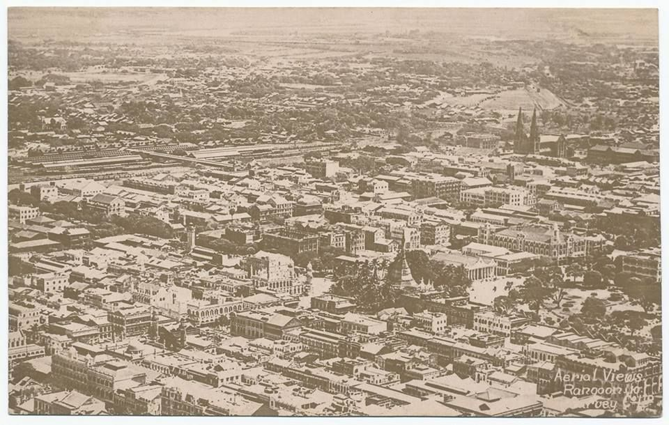 A Very Early Aerial View Of Rangoon C 1920 The Old Municipal Offices At Ripon Hall Now The Site Of Ycdc And City Aerial View Pedestrian Walk Southeast Asia