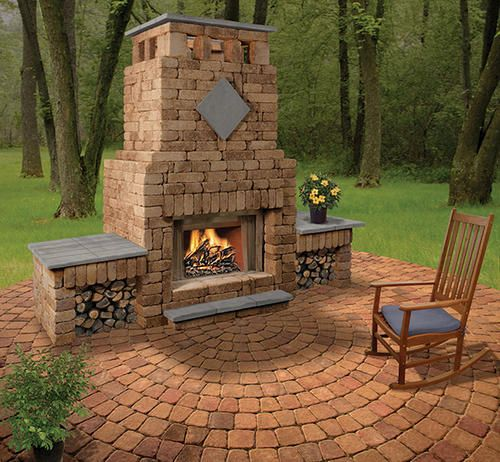Bradford Fireplace With Double Woodbox Menards Rustic Fire Pits Fire Pit Seating Small Fire Pit