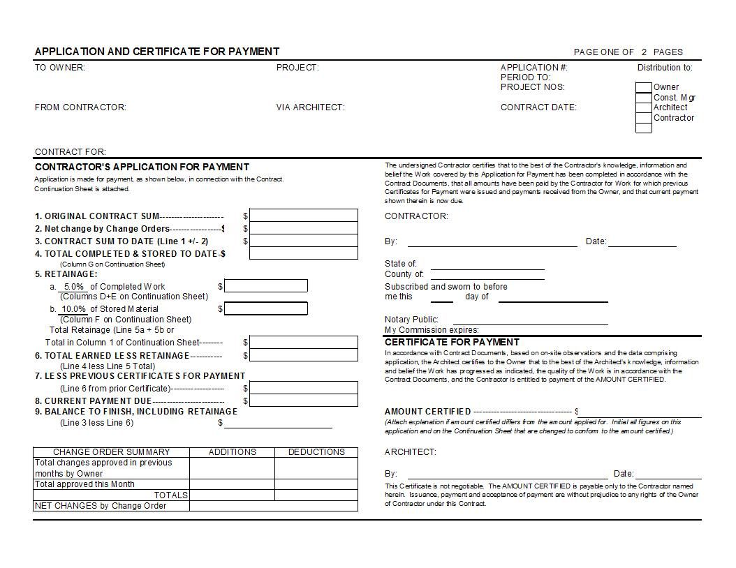Aia G702 And G703 Style Application For Payment And Continuation Sheet