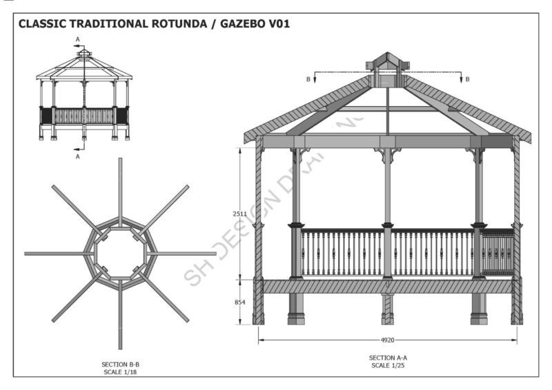 Classic Rotunda Gazebo Unique Design V1 Full Building Plans In 3d And 2d Ebay Gazebo Building Plans Building A Deck