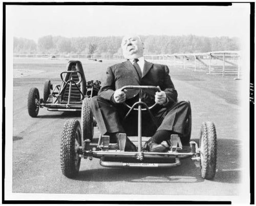 Photo-Alfred-Hitchcock-go-cart-on-a-track-Milan-Italy-1960