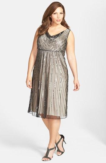 J Kara Dresses Kara Embellished Mesh Dress Plus Size J Kara