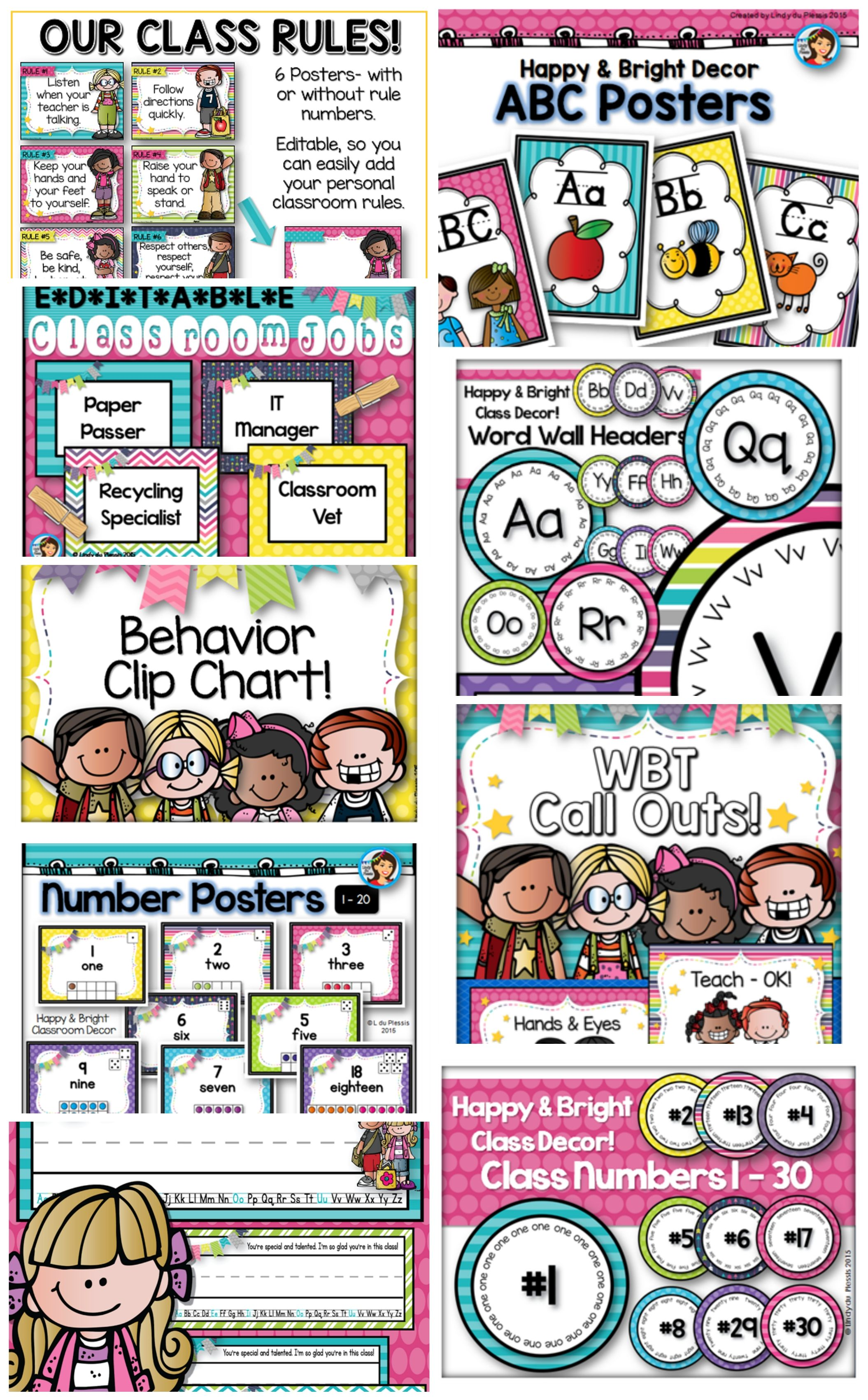 Bright And Happy Classroom Decor Just Print And Go )