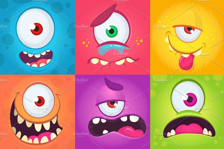 Cartoon Monsters Expressions Set Cartoon Monsters Monster Face Cartoon
