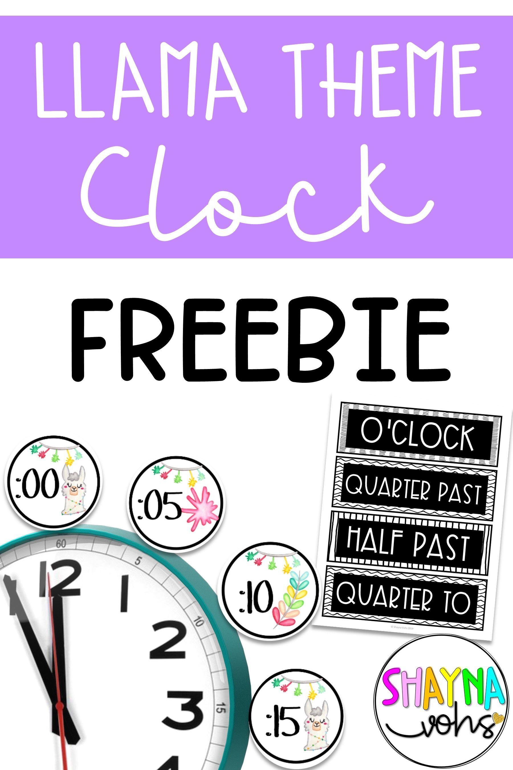 Llama Clock Labels Free