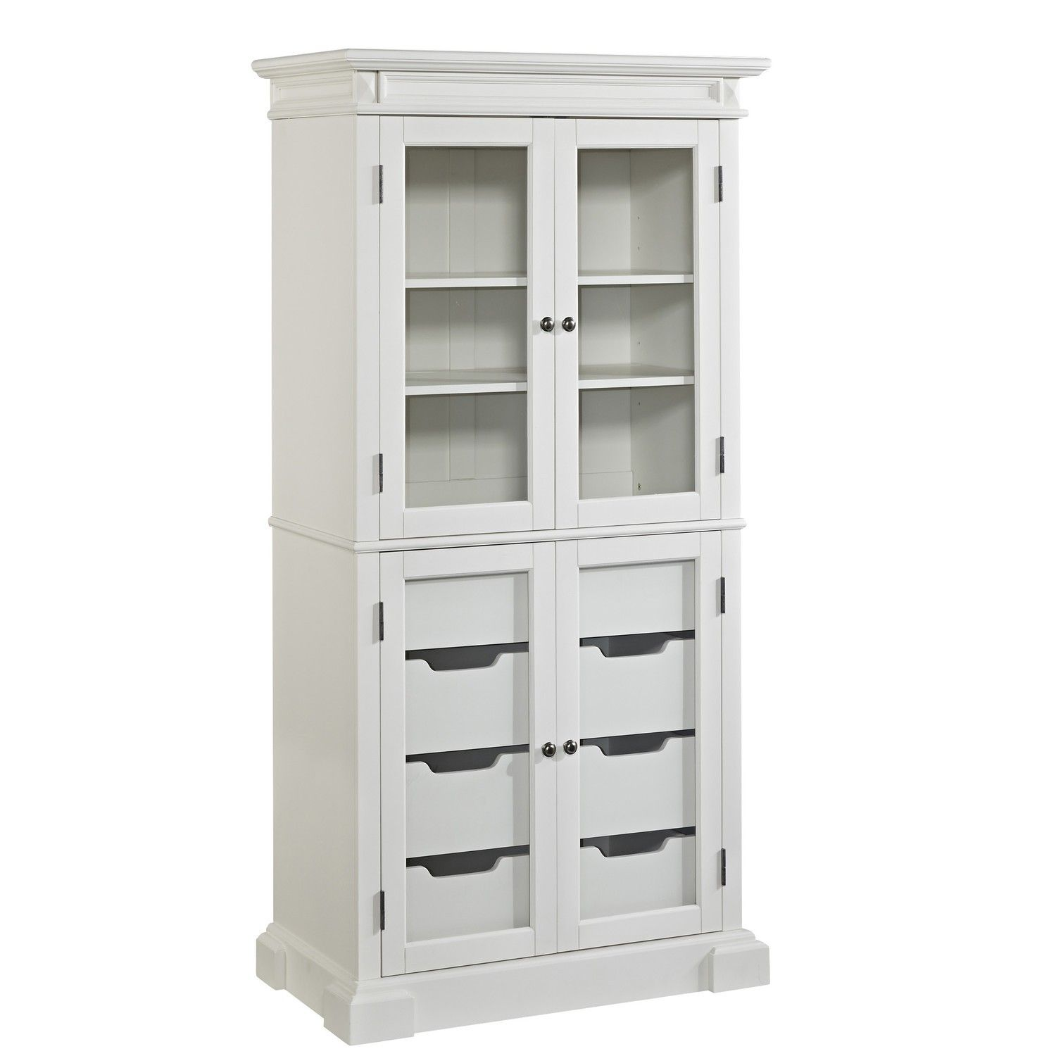 Exceptional Furniture Kitchen White Lacquer Wooden Pantry Cabinet With