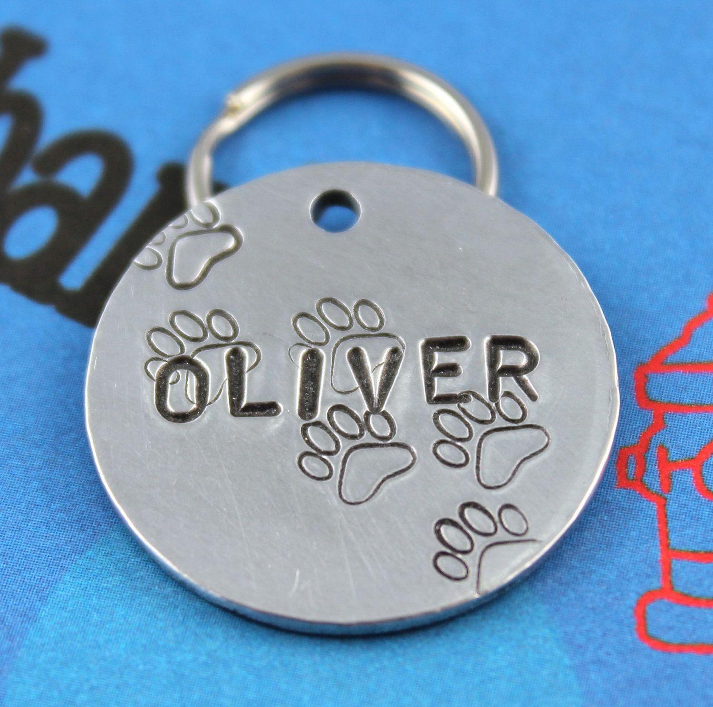 Aluminum dog tag fun metal pet id tag with paw prints hand